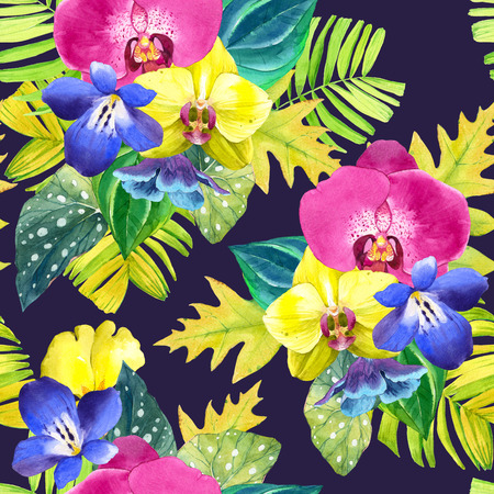 tropical flowers: Seamless background with watercolor tropical flowers. Bouquet with tropical plants on black and white background with geometric pattern. Yellow and pink orchid, begonia and palm leaves, blue flowers.