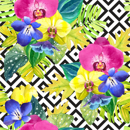 blue and white: Seamless background with watercolor tropical flowers. Bouquet with tropical plants on black and white background with geometric pattern. Yellow and pink orchid, begonia and palm leaves, blue flowers.