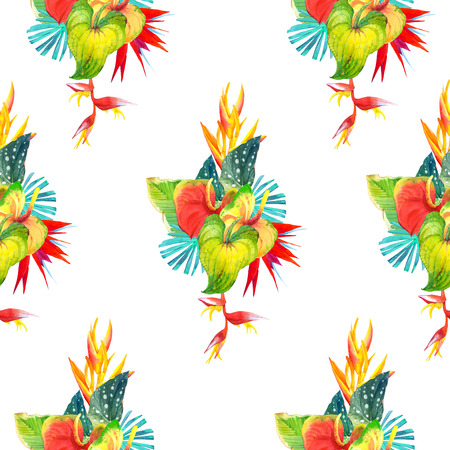 strelitzia: Beautiful pattern with begonia leaves, anthurium and strelitzia on white background. Summer pattern.