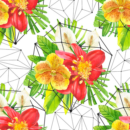 dahlia: Bouquet with tropical plants on black and white background with geometric pattern. Composition with lily, dahlia, orchid and begonia leaves.