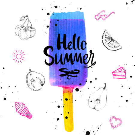 sorbet: Watercolor illustration with ice cream on a stick. Poster with summer ice cream on white background. Illustration with blue sorbet.
