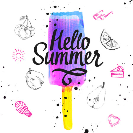 flavor: Watercolor illustration with ice cream on a stick. Poster with summer ice cream on white background. Illustration with berry flavor sorbet.