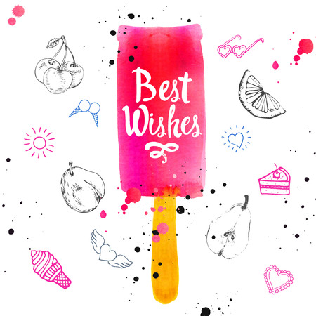 flavor: Watercolor illustration with ice cream on a stick. Poster with summer ice cream on white background. Illustration with strawberry flavor sorbet. Sweet Popsicle. Best wishes. Stock Photo