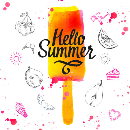 Watercolor illustration with ice cream on a stick. Poster with summer ice cream on white background.