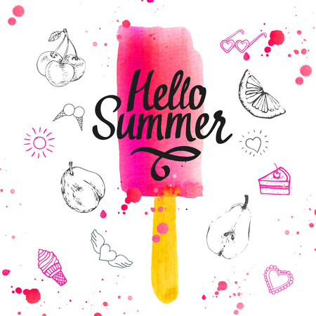 sun glasses: Watercolor illustration with ice cream on a stick. Poster with summer ice cream on white background.