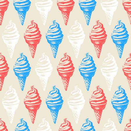 ice cream on stick: Ilustración del vector con sorbete. Postre dulce. patrón de menú en el estilo vintage. Vectores