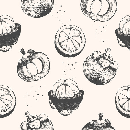 organic food: Fresh organic food. Fruits vintage pattern. Hand-drawn sketch of mangosteens. Black and white.