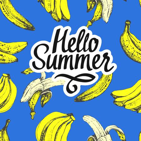 水果夏季图案与香蕉在蓝色的背景。素描风格。新鲜的有机食品。