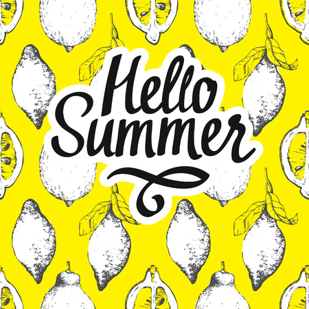 Fruit summer pattern with lemon on yellow background. Sketch style. Fresh organic food.