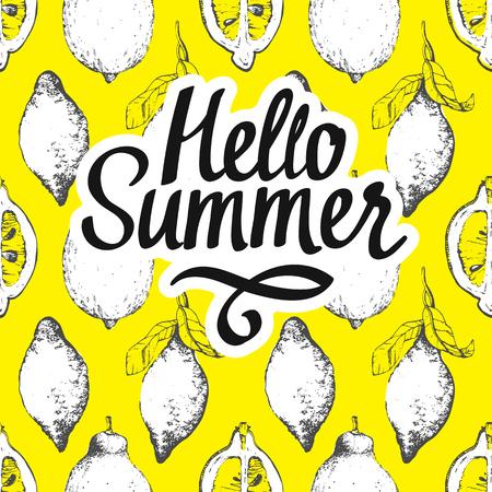 lemon slice: Fruit summer pattern with lemon on yellow background. Sketch style. Fresh organic food.