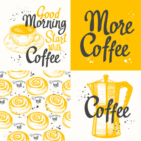 hot cup: Hot drinks menu. Vector Illustration with cup, coffee maker and pattern. Decorative elements for your packing design. Multicolor decor.