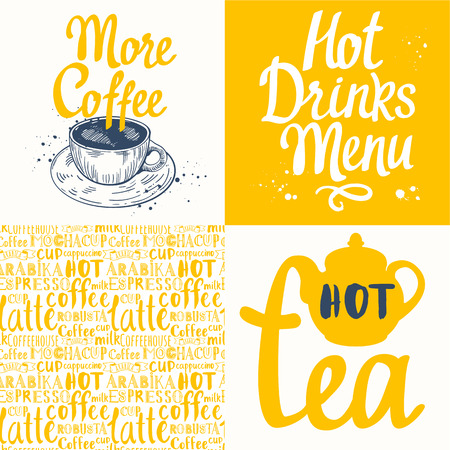 hot cup: Hot drinks menu. Vector Illustration with cup, teapot and pattern. Decorative elements for your packing design. Multicolor decor.