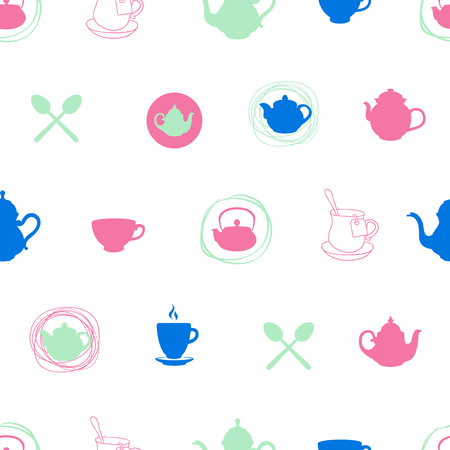 party drinks: Tea party menu pattern. Vector Illustration with funny drinks pattern on white background. Decorative elements for your packing design.