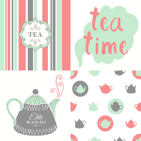 hot drinks: Hot drinks menu. Vector Illustration with cups, teapots and pattern. Decorative elements for your packing design. Multicolor decor. Illustration
