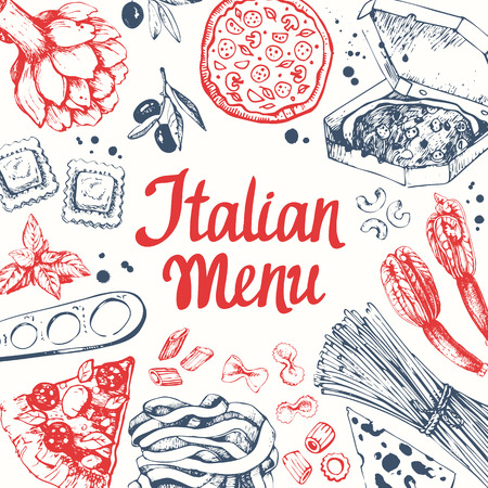 main course: Sketch design. Pasta set in sketch style. Italian homemade traditional food on white background. Illustration