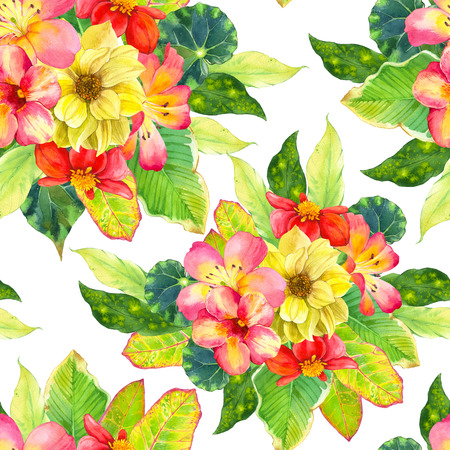 tropical leaves: Beautiful bouquet with tropical flowers and plants on white background. Composition with dahlia, lily, begonia, palm and croton leaves.