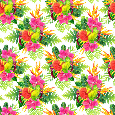 strelitzia: Beautiful pattern with tropical flowers and plants on white background. Composition with palm leaves, anthurium and strelitzia.
