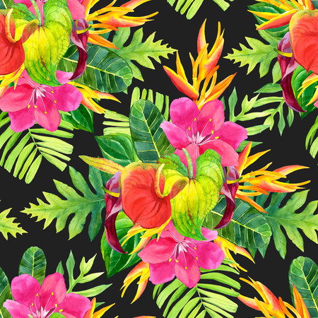 inflorescence: Beautiful pattern with tropical flowers and plants on black background. Composition with palm leaves, anthurium and strelitzia. Stock Photo