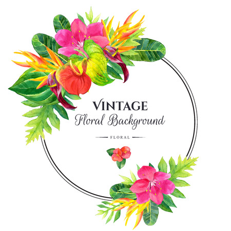 熱帯の花と白い背景の植物と花のイラスト。ヤシの葉、アンスリウム、ストレチアのコンポジション。 ラウンド フレーム。 写真素材
