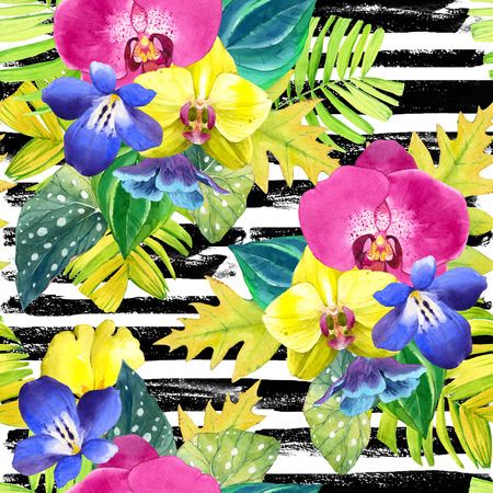 orchid isolated: Bouquet with tropical plants on a striped black and white background. Yellow and pink orchid, begonia and palm leaves, blue flowers. Stock Photo