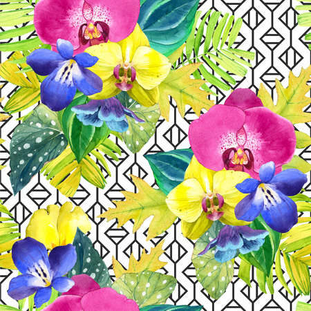 tropical flowers: Bouquet with tropical plants on black and white background with geometric pattern. Yellow and pink orchid, begonia and palm leaves, blue flowers.
