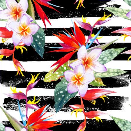 endlos: Schöner Blumenstrauß mit tropischen Pflanzen auf gestreiften schwarzen und weißen Hintergrund. Komposition mit plumeria, Strelitzien, Palmen und Begonie Blätter.