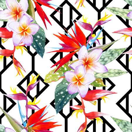 endlos: Schöner Blumenstrauß mit tropischen Pflanzen auf schwarzem und weißem Hintergrund mit geometrischen Muster. . Komposition mit plumeria, Strelitzien, Palmen und Begonie Blätter. Lizenzfreie Bilder