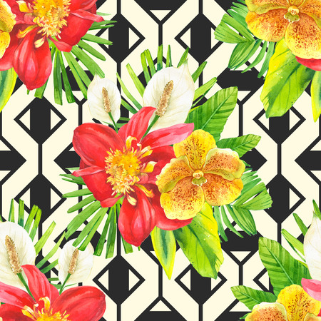 tropical plants: Bouquet with tropical plants on black and white background with geometric pattern. Composition with lily, dahlia, orchid and begonia leaves.