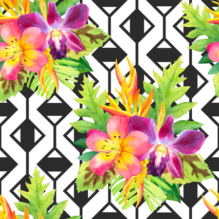 strelitzia: Beautiful bouquet on black and white background with geometric pattern. Composition with strelitzia, orchid, palm and begonia leaves. Stock Photo