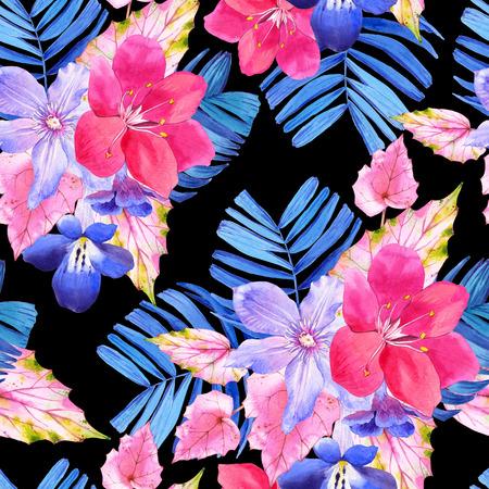 Schöne Aquarell-Illustration Mit Tropischen Blumen Und Pflanzen Auf ...