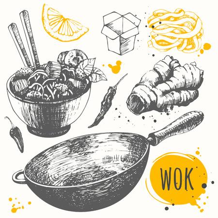 鍋製品とベクトル食品イラスト。アジアのファーストフード