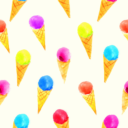 sorbet: Colorful watercolor background with ice cream on white background. Illustration with sorbet. Stock Photo
