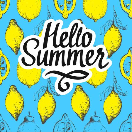 Fruit modèle d'été avec citron sur fond bleu. croquis de style. nourriture organique fraîche.