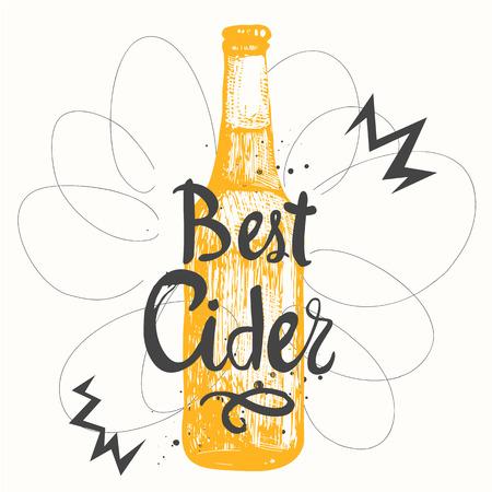 bebidas alcohÓlicas: la botella de cerveza de color amarillo en el estilo de dibujo para el menú de pub. Ilustración del vector con las bebidas alcohólicas. etiquetas de sidra.