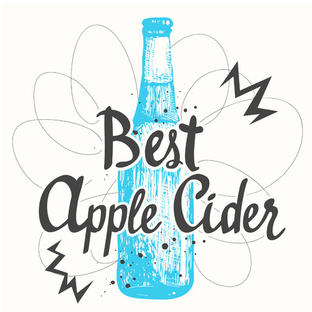 bebidas alcoh�licas: la botella de cerveza azul en el estilo de dibujo para el men� de pub. Ilustraci�n del vector con las bebidas alcoh�licas. etiquetas de sidra.