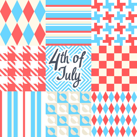 Vector illustration. Chess and striped background. Multicolor design. 4th of July.