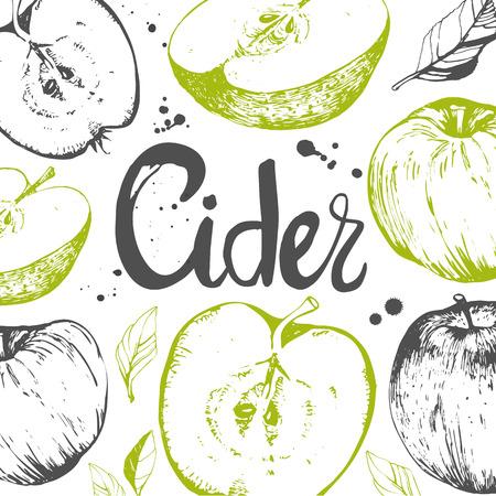 Vector hand-drawn schets van de appel. Verse biologische voeding. Fruit patroon met appel.