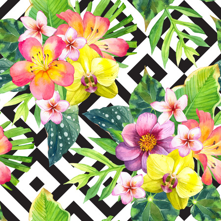 exotic flowers: Beautiful bouquet with lily, dahlia, palm and begonia leaves and orchid on black and white background with geometric pattern.