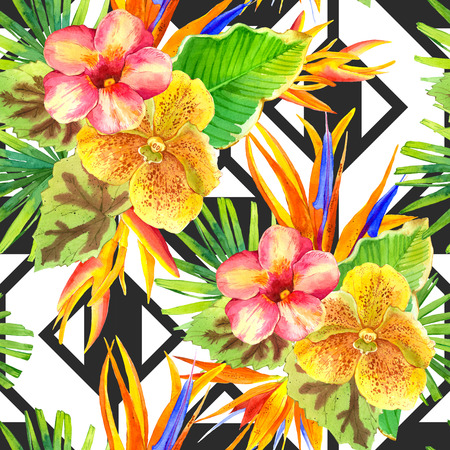 tropical flowers: Seamless background with watercolor tropical flowers. Beautiful tropical plants on black and white background with geometric pattern. Composition with lily, strelitzia, palm and begonia leaves and orchid.