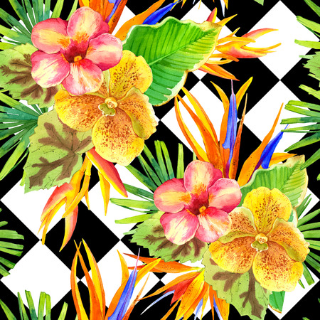 Seamless background with watercolor tropical flowers. Beautiful tropical plants on black and white background with geometric pattern. Composition with lily, strelitzia, palm and begonia leaves and orchid.