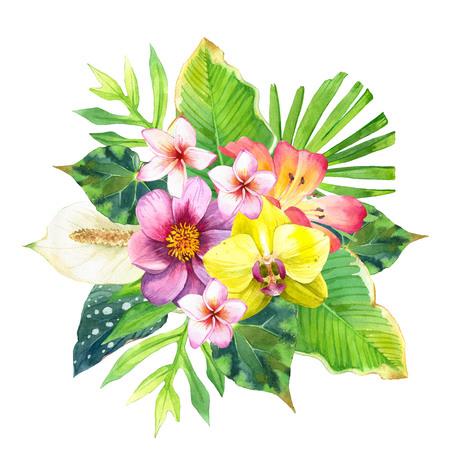 ユリ、ダリア、ヤシ、ベゴニアの葉と黒と白の背景の上に蘭の美しい花束。植物のイラスト。