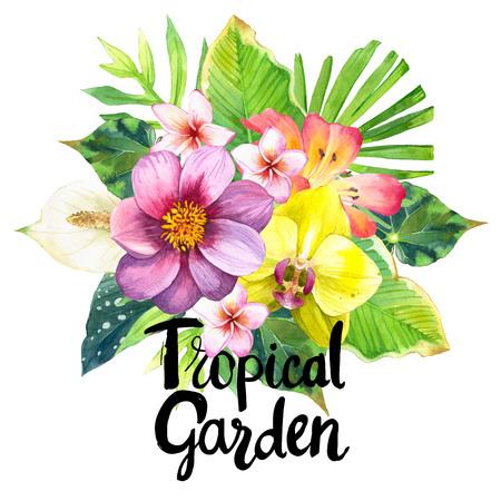 Magnifique bouquet de lys, dahlias, de palme et de feuilles de bégonia et d'orchidées sur fond noir et blanc. illustrations botaniques. Banque d'images - 60000284