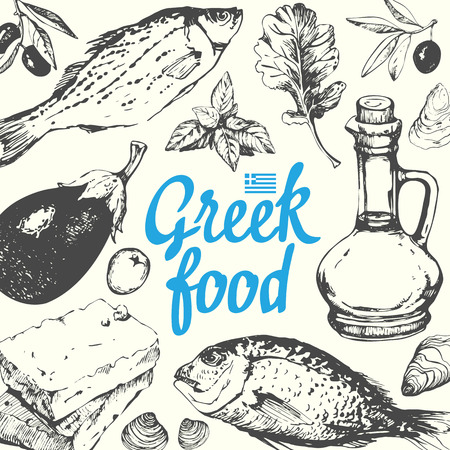 mediterranean food: Background with greek food. Menu pattern. Vector illustration with fish, olive oil, cheese and vegetables. Sketch design. Mediterranean traditional products in sketch style. Greek homemade traditional food on white background. Illustration