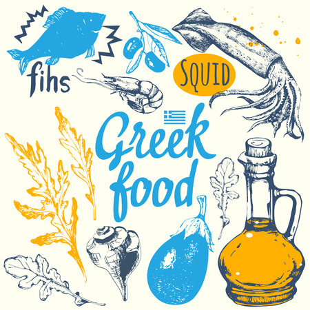 Background with greek food. Menu pattern. Vector illustration with fish, olive oil, cheese and vegetables. Sketch design. Mediterranean traditional products in sketch style. Greek homemade traditional food on white background. Ilustração