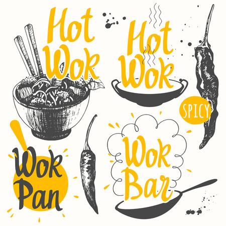 Vector ilustración de alimentos con productos wok. Bosquejo fijó con la cacerola y productos wok. Divertido etiquetas asiático símbolos de comida rápida.