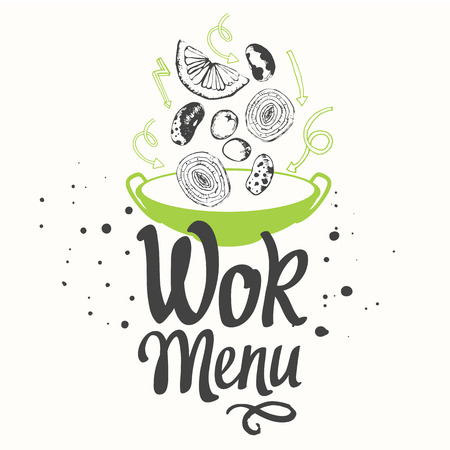 street symbols: Seamless background with asian street food. Menu pattern.Sketch style. Sketch poster with wok pan. Funny labels asian fast food symbols.