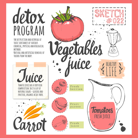 cleanse: Useful drinks and fresh vegetables in sketch style. Vector illustration with natural juices drinks: smoothies, lemonade and kitchen equipment. Detox.