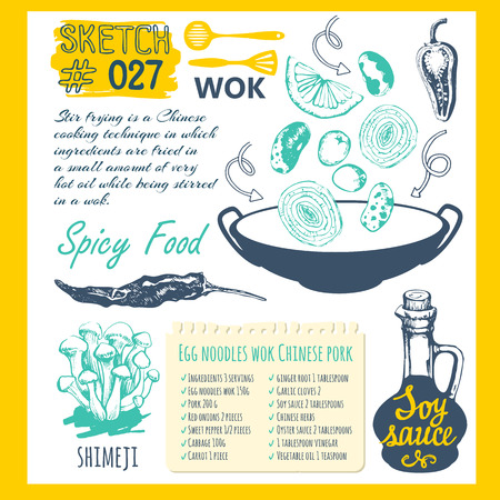 Sketch set with wok pan, chinese food, pepper and recipe. Funny labels asian fast food symbols. Vector food illustration with wok products. Illustration