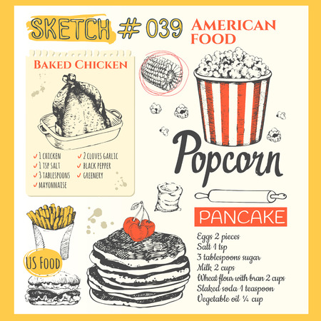 baked chicken: US food in the sketch style. Main course and snacks. American traditional products. Vector illustration of ethnic cooking: burger, baked chicken, french fries, popcorn, pancake.