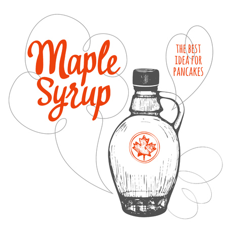 maple syrup: American traditional products. Vector illustration of ethnic cooking.